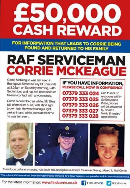 Find RAF Serviceman Corrie McKeague